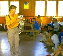 Jant at 4-H camp doing a demo on How to stay safe and be found in the wilderness